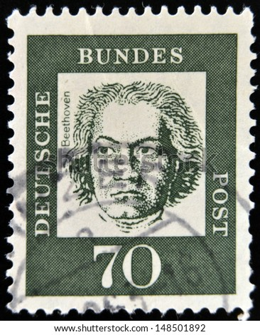 GERMANY - CIRCA 1961: A stamp printed in Germany showing German composer and pianist Ludwig van Beethoven, circa 1961.  - stock photo