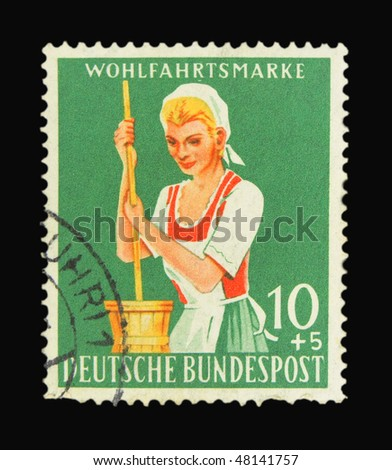 GERMANY - CIRCA 1980: A stamp printed in Germany showing woman circa 1980