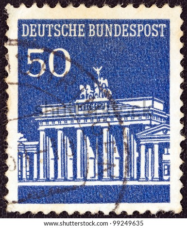 GERMANY - CIRCA 1966: A stamp printed in Germany shows Brandenburg Gate, Berlin, circa 1966.