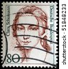 GERMANY - CIRCA 1989: A stamp printed in Germany shows Clara Schumann, circa 1989 - stock photo