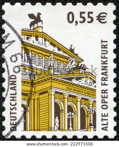 GERMANY - CIRCA 1988: A stamp printed in GERMANY shows image of the dedicated to the German Architecture circa 1980. - stock photo