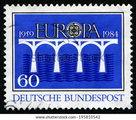 GERMANY-CIRCA 1984:A stamp printed in Germany shows image of the Europe is one of the world's seven continents, circa 1984. - stock photo