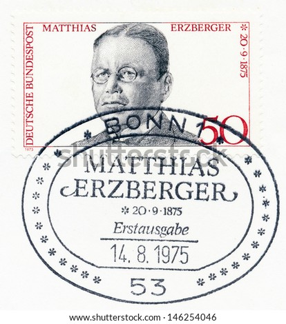 GERMANY - CIRCA 1975: A stamp printed in Germany, shows Matthias Erzberger (1875-1921), statesman, signer of Compiegne Armistice (1918) at end of World War I, circa 1975 - stock photo