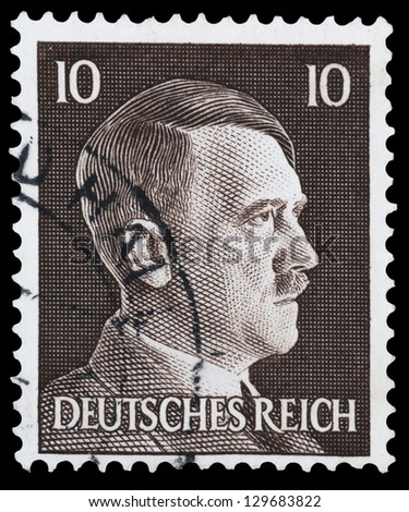 """GERMANY - CIRCA 1941: A stamp printed in Germany shows Portrait of Adolf Hitler (Nazi war criminal and former leader of the Nazi Party), without inscription, from the series """"Adolf Hitler"""", circa 1941 - stock photo"""