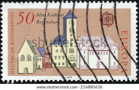 GERMANY - CIRCA 1978: A stamp printed in Germany, shows the old Town Hall, Regensburg, circa 1978