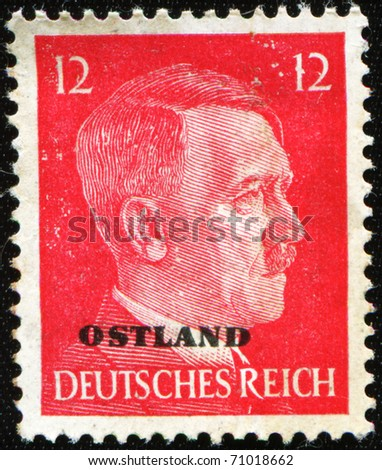 GERMANY - CIRCA 1941: A Stamp printed in GERMANY shows the portrait of a Adolf Hitler (1889-1945), series, circa 1941 - stock photo