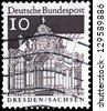 "GERMANY - CIRCA 1966: A stamp printed in Germany shows Wall Pavilion Zwinger, Dresden, with the same inscription, from the series ""Historic Buildings"", circa 1966 - stock photo"