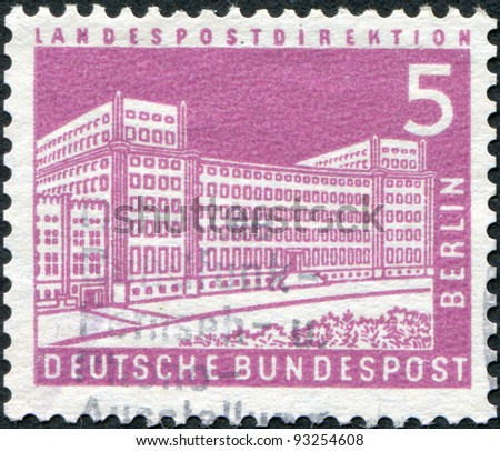 GERMANY - CIRCA 1957: A stamp printed in Germany (West Berlin), shows the General Post Office, circa 1957