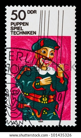 GERMANY - CIRCA 1984: a stamp printed in the Germany Berlin shows art toy, circa 1984 - stock photo