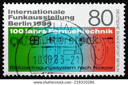 GERMANY - CIRCA 1983: a stamp printed in the Germany, Berlin shows Nipkow's Phototelegraphy Diagram, International Radio Exhibition, circa 1983 - stock photo