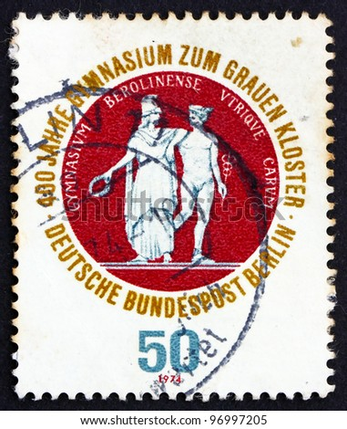 GERMANY - CIRCA 1974: a stamp printed in the Germany, Berlin shows School Seal Showing Athena and Hermes, 400th Anniversary of the Gray Brothers School, a Secondary Franciscian School, circa 1974 - stock photo