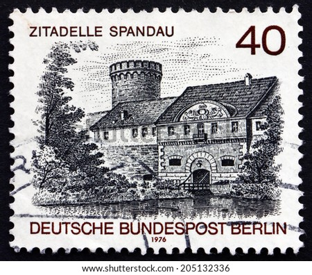GERMANY - CIRCA 1976: a stamp printed in the Germany, Berlin shows Spandau Castle, Berlin View, circa 1976 - stock photo