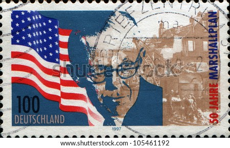 GERMANY - CIRCA 1997: A stamp printed in the Germany, dedicated to 50th anniversary of the Marshall Plan, circa 1997