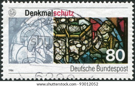 GERMANY - CIRCA 1986: A stamp printed in the Germany, dedicated to the Monuments protection, shows the Augsburg Cathedral Stained Glass Window, circa 1986