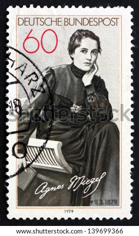 GERMANY - CIRCA 1979: a stamp printed in the Germany shows Agnes Miegel, Poet, circa 1979