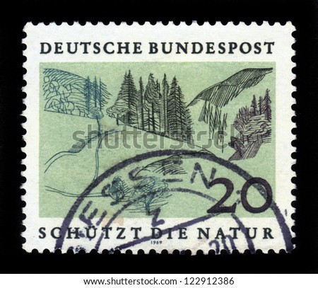 GERMANY - CIRCA 1969: a stamp printed in the Germany shows Foothills, Nature Protection series, circa 1969