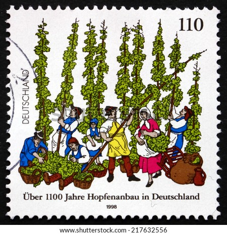 GERMANY - CIRCA 1998: a stamp printed in the Germany shows German Cultivation of Hops, Female Flowers of the Hop Plant, Humulus Lupulus, circa 1998 - stock photo