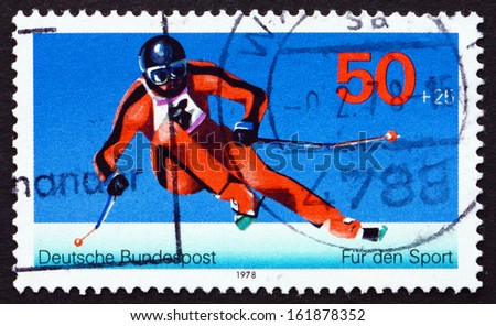 GERMANY - CIRCA 1978: a stamp printed in the Germany shows Giant Slalom, Winter Sport, Alpine Skiing Discipline, circa 1978 - stock photo