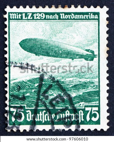 GERMANY - CIRCA 1936: A stamp printed in the Germany shows Hindenburg, Airship, circa 1936