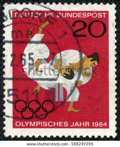 GERMANY - CIRCA 1964: A stamp printed in the Germany shows Judo, Olympic Sport, circa 1964 - stock photo