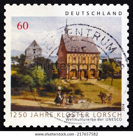 GERMANY - CIRCA 2014: a stamp printed in the Germany shows Lorsch Monastery, 1250th Anniversary, circa 2014 - stock photo