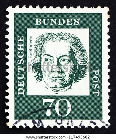 GERMANY - CIRCA 1961: a stamp printed in the Germany shows Ludwig van Beethoven, Composer, circa 1961 - stock photo