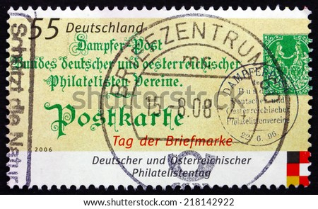 GERMANY - CIRCA 2006: a stamp printed in the Germany shows Old Postcard, Stamp Day, circa 2006 - stock photo