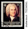 GERMANY - CIRCA 1985: A Stamp printed in the GERMANY shows portrait of the composer Johann Sebastian Bach, circa 1985. - stock photo