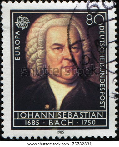 GERMANY - CIRCA 1985: A Stamp printed in the GERMANY shows portrait of the composer Johann Sebastian Bach, circa 1985