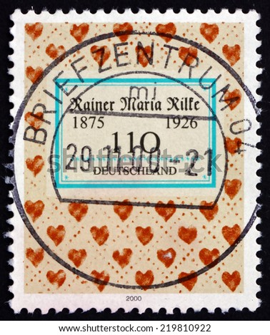 GERMANY - CIRCA 2000: a stamp printed in the Germany shows Rainer Maria Rilke, Bohemian-Austrian Poet and Novelist, Hearts, circa 2000 - stock photo