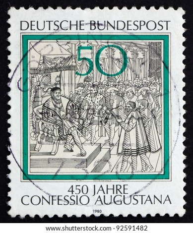 GERMANY - CIRCA 1980: a stamp printed in the Germany shows Reading of Confession of Augsburg to Charles V, Engraving, 450th anniversary, circa 1980