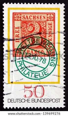 GERMANY - CIRCA 1978: a stamp printed in the Germany shows Saxony No. 1 Stamp with World Philatelic Movement Cancel, Stamp Day, circa 1978 - stock photo