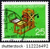 GERMANY - CIRCA 1972: a stamp printed in the Germany shows Senefelder's Lithography Press, 175th Anniversary of the Invention of the Lithographic Printing Process, circa 1972 - stock photo