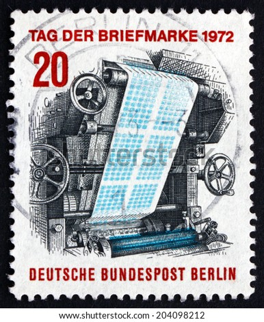 GERMANY - CIRCA 1972: a stamp printed in the Germany shows Stamp-printing Press, Stamp Day, circa 1972 - stock photo