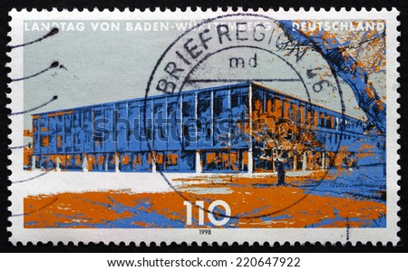 GERMANY - CIRCA 1998: a stamp printed in the Germany shows State Parliament of Baden-Wurttemberg, Stuttgart, circa 1998 - stock photo