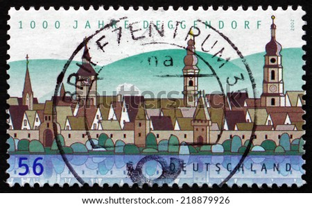 GERMANY - CIRCA 2002: a stamp printed in the Germany shows View of Deggendorf, Town in Bavaria, 1000th Anniversary, circa 2002