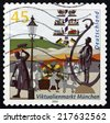 GERMANY - CIRCA 2003: a stamp printed in the Germany shows View of Market, Munich, circa 2003 - stock photo