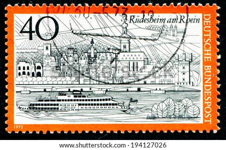 GERMANY - CIRCA 1973: a stamp printed in the Germany shows View of Rudesheim am Rhein, Germany, circa 1973 - stock photo