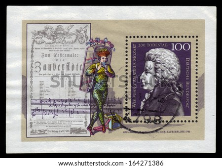 GERMANY - CIRCA 1991: a stamp printed in the Germany shows Wolfgang Amadeus Mozart, Composer, circa 1991 - stock photo