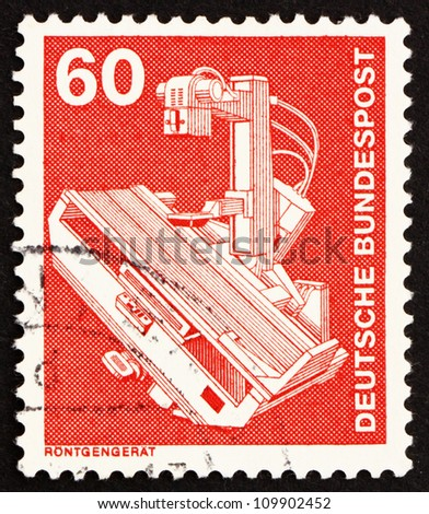 GERMANY - CIRCA 1978: a stamp printed in the Germany shows X-Ray Machine, circa 1978 - stock photo