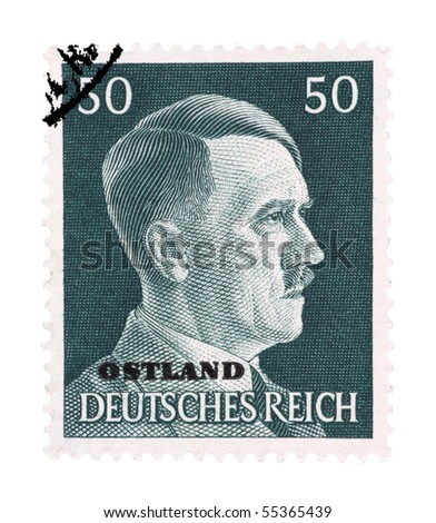 GERMANY - CIRCA 1942: Adolf Hitler on German Stamp, circa 1942 - stock photo