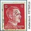 GERMANY - CIRCA 1942: Adolf Hitler profile stamp , circa 1942 - stock photo