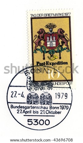 GERMANY - CIRCA APRIL 27: special postmark on vintage postage stamp circa on april 27, 1979 in Bonn, Germany