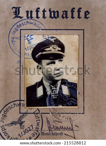 GERMANY - CIRCA 1942: First page Luftwaffe pilot certificate.  Reproduction of antique photo. - stock photo