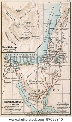 "GERMANY - CIRCA 1895: Map of Sinai Peninsula. The route of exodus of Jews from Egypt. Atlas B. Schwarze, Leipzig, Printing House ""Privilegierte Wurttembergische Bibelanstalt"", Germany, 1895"