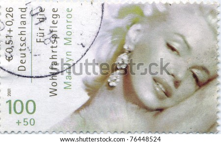 GERMANY - CIRCA 2001: Marilyn Monroe (1926-1962) Germany stamp. The Hollywood actress starred in 30 films,  circa 2001 - stock photo