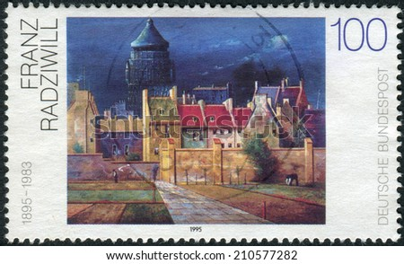 "GERMANY - CIRCA 1995: Postage stamp printed in Germany, shows a picture of ""The Water Tower in Bremen"", by Franz Radziwill, circa 1995"
