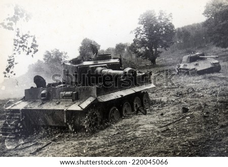 GERMANY - CIRCA 1940s: Tiger II is the common name of a German heavy tank of the Second World War. The final official German designation was Panzerkampfwagen Tiger Ausf. B - stock photo