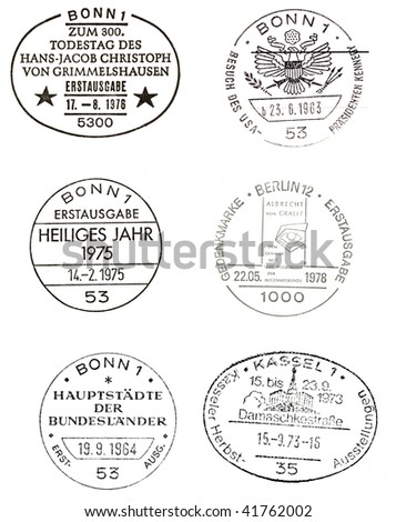 GERMANY - CIRCA 1963-1978 six special commemorative postmarks from Germany including president Kennedy visiting Germany in 1963, circa 1963-1978