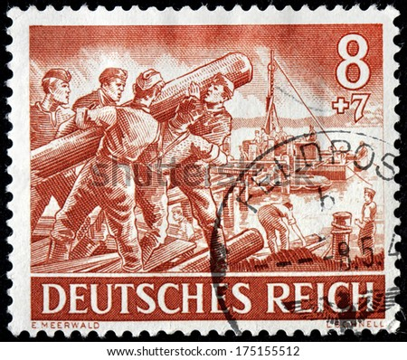 GERMANY - circa 1943: stamp printed by Germany, shows German engineering corps  in action,  circa 1943. - stock photo